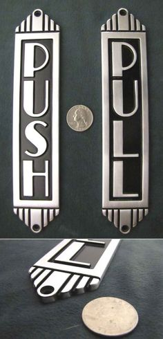 ART DECO METAL PUSH AND PULL DOOR SIGN / ENTRANCE SIGN | Collectibles, Decorative Collectibles, Signs | eBay!
