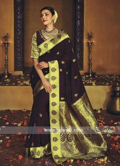Kajal Aggarwal Wedding Saree in Dark Magenta Bollywood Designer Sarees, Bollywood Saree, Beautiful Saree, Beautiful Indian Actress, Saree Wedding, Wedding Wear, Saree Dress, Sari, Work Sarees
