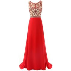 Changjie Women's Long Bridesmaid Beaded Chiffon Formal Evening Prom... ($119) ❤ liked on Polyvore featuring dresses