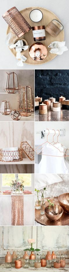 Rose gold has been around in the jewelry industry for many years, and now even more popular as girls all over the world are in love with the new rose gold mobile device! The pretty metallic pink trend is blowing up everywhere, and if you are a fan of it, Rose Gold Decor, Gold Home Decor, Handmade Home Decor, Diy Home Decor, Copper Decor Living Room, Rose Gold Interior, Home Decor Copper, Target Home Decor, Deco Rose