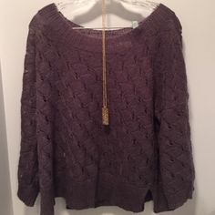 "Purple sweater Beautiful shade of purple 41% acrylic 29% nylon 28% mohair and 2% wool  perfect condition 23"" down from shoulder 23"" across  sleeves are 22"" it's a boxy sweater LOFT Sweaters"
