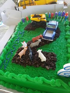 Little blue truck 2nd birthday cake