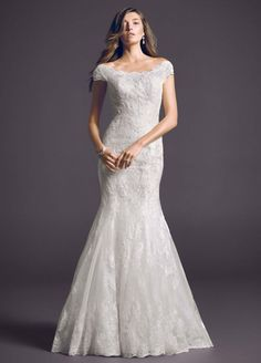Sample: Off The Shoulder Chantilly Lace Trumpet Wedding Dress - Ivory / Champagne, 0