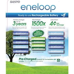 Sanyo Eneloop New NiMH Pre-Charged 10 Rechargeable AA and 4