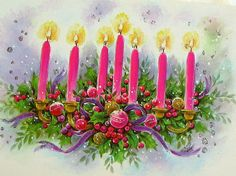 Sweet, hot pink candles light up this unused vintage mod Christmas holiday card. The setting is completed with green foliage and pink and gold ornaments.
