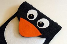 Penguin iPad case - Anthracite felt - Made to order. $69.00, via Etsy.