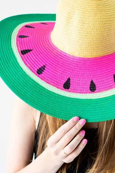 Watermelon Sun Hat - Don't let the cold weather get you down, instead hit the summer sales and grab some plain Sun hats for a DIY bonanza. I love this Watermelon Sun hat, its perfect for day's at the beach …