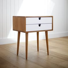 2014 Collection Mid-Century Scandinavian Side Table / Nightstand - Frame and legs made of solid oak in honey ,and drawers from Habitables. Scandinavian Interior Bedroom, White Bedroom Decor, Bed Table, Coffee Table With Storage, Table Storage, Furniture Inspiration, Solid Oak, Decoration, Diy Furniture