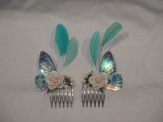 Fairy/butterfly wing hair combs ideal for by AssassinKittyCustoms, £8.00
