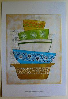 $23.50 Kitchen Recipe Food Dishes Art Print, Retro Ware IV by Chariklia Zarris