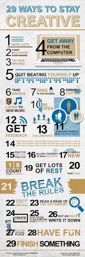 29 sposobów na #kreatywność / 29 Ways To Stay Creative