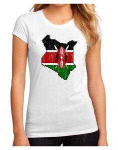TooLoud Kenya Flag Silhouette Distressed Juniors Petite Sublimate Tee