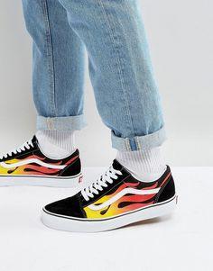8d4253c9976095 Vans Flame Old Skool Sneakers In Black VA38G1PHN Vans Logo
