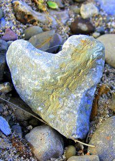 Beautiful Heart Shaped Rock with markings.