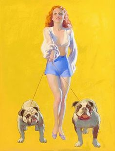 Vintage Pin-Up Girl With Bulldogs Earl Moran Earl Moran, Pin Up Girls, 1950 Pinup, Decoupage, Rolf Armstrong, Pin Up Illustration, Pin Up Posters, Dog Pin, Poster Prints