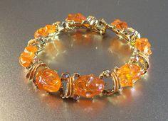 Rhinestone Lava Rock Bracelet Aurora Borealis Orange Lucite