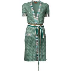 Missoni zig-zag shortsleeved belted cardigan (1,362,370 KRW) ❤ liked on Polyvore featuring tops, cardigans, green, green top, zig zag top, missoni top, belted top and short sleeve cardigan