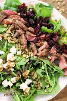 Cranberry Goat Cheese Steak Salad with balsamic dressing is the perfect easy and delicious protein packed salad for your next lunch or dinner!