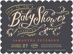 Sincerely Sweet - Baby Shower Invitations - Petite Alma - Flint Gray #TopPin #baby