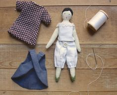 The body pattern for the tiny rag doll is worked out as well as the assembly and directions for the little details – like her shoes and hair.  I've moved on to patterns for her wardrobe…