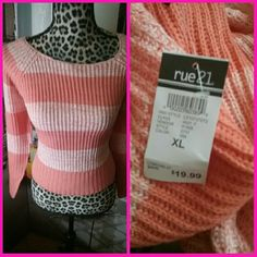 New Rue 21 sweater extra large orange and white New Rue 21 sweater size extra large orange and white stripes Rue 21 Sweaters