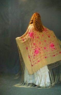 Glorious huge silk piano shawl / extra long fringing & hand embroidery / mocha cerise pink oriental square boho bridal Spanish manton