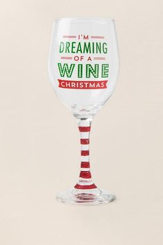 Dreaming Of A Wine Christmas Wine Glass-  gift-cl
