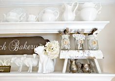 Junk Chic Cottage: Coffee Anyone?????  This is the cutest idea... old jars, doilies and old silverware!