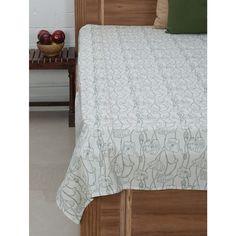 WHITE GREEN COTTON HAND BLOCK PRINTED SINGLE BED SHEET