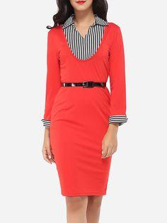 #AdoreWe #FashionMia Bodycon Dresses - FashionMia V Neck Dacron Patchwork Stripes Bodycon-dress - AdoreWe.com