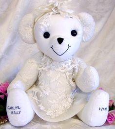 A bridal dress bear, memory bear from wedding dress