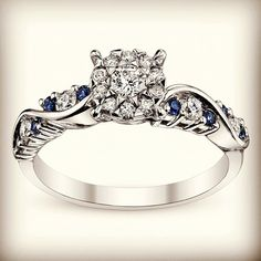 Cherish Diamond & Blue Sapphire Engagement ring. SKU 0387323