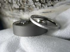 Titanium Ring Set His and Hers Sandblasted and Frost Finish