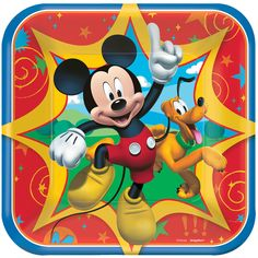 Your favorite cartoon mouse, Mickey Mouse, and his pal, Pluto with all their friends are here to party with these 7'' square paper dessert plates. Perfect for Mickey Mouse birthday parties. Includes 8