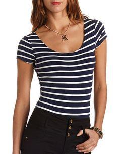 Short Sleeve Striped Bodysuit: Charlotte Russe