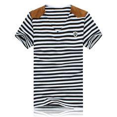 $10.06 Slimming Trendy V-Neck Stripe Design Suede Splicing Short Sleeve Polyester T-shirt For Men