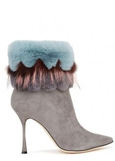 Remola fur-trimmed suede ankle boots