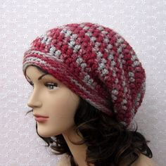 Red Gray Slouchy Crochet Hat  Womens Slouch by ColorMyWorldCrochet