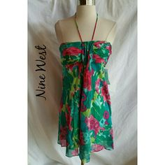 Nine West Size 12 Halter Dress NWT Cotton and silk blend.   Zipper.  Floral.    New. Nine West Dresses
