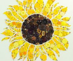 MADE TO ORDER Button Art Sunflower Custom by PaintedWithButtons