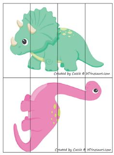 Free for kids: Dinosaur 4 part puzzles
