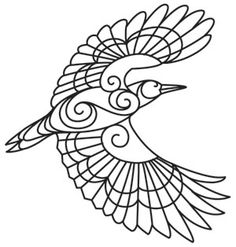 This beautifully distinctive woodpecker has swirling details, begging to be stitched! Downloads as a PDF. Use pattern transfer paper to trace design for hand-stitching.