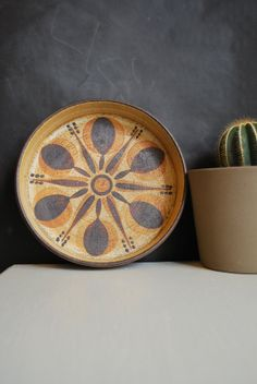 Mid-Century Sgrafo Pottery Plate Hand-signed by Famous Artist, Peter Müller