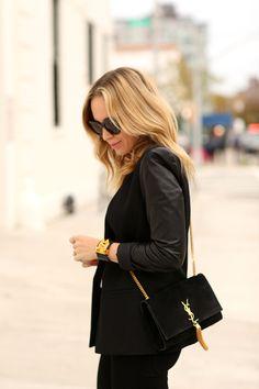 Brooklyn Blonde -- Saint Laurent tassle bag with gold hardware, Hermès Collier de Chien bracelet