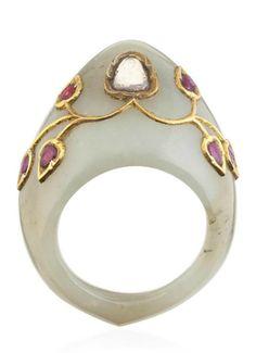 A DIAMOND AND RUBY-SET JADE ARCHERY RING   INDIA, 19TH CENTURY. Jade Jewelry, Modern Jewelry, Jewelry Rings, Jewelery, Jewelry Accessories, Jewelry Design, Mughal Jewelry, Indian Jewelry, Antique Rings