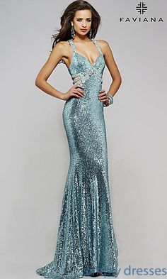 Shop SimplyDresses for fit and flare sequin gowns and V-neck long sequin dresses. Open back long sequin gowns by Faviana for prom or pageant.