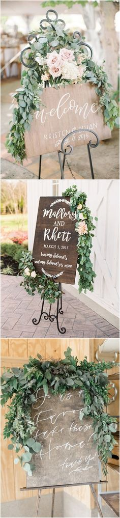 Greenery eucalyptus rustic wedding signs #green #wedding #weddingideas #dpf #deerpearlflowers / see more ❤️ http://www.deerpearlflowers.com/eucalyptus-wedding-decor-ideas/