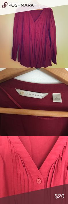 LC Lauren Conrad button up Size: Large. Beautiful deep red color. Baby doll type fit with the middle seam. LC Lauren Conrad Tops Blouses