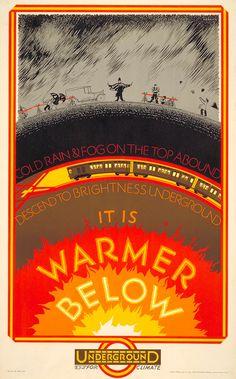 Frederick Charles Herrick: It is Warmer Below (1927) London Transportation Poster via: itsnicethat.com