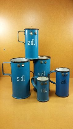 Antique enamel ware measures
